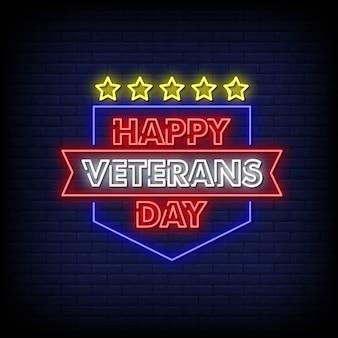 Feliz dia dos veteranos, sinais de néon estilo texto