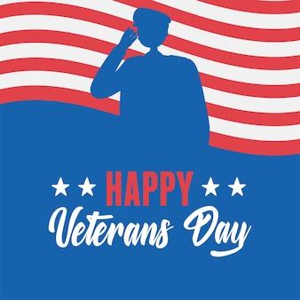 Feliz dia dos veteranos, soldado das forças armadas militares dos eua silhueta bandeira americana.