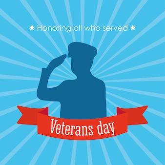 Feliz dia dos veteranos, soldado saudando em silhueta e ilustração de fundo de raios azuis