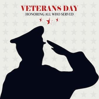 Feliz dia dos veteranos, soldado saudando estrelas ilustração em vetor cartão de fundo