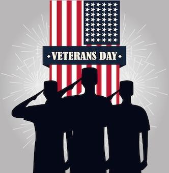Feliz dia dos veteranos, soldados saudando a ilustração vetorial de bandeira americana pendente