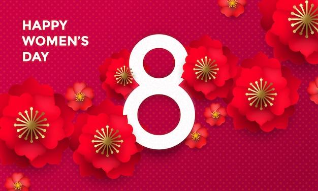 Feliz dia internacional da mulher 8 de março papercut
