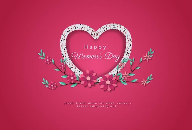 Feliz dia internacional da mulher com brilho de amor formando linhas de amor