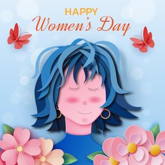 Feliz dia internacional da mulher com menina e flores em estilo jornal