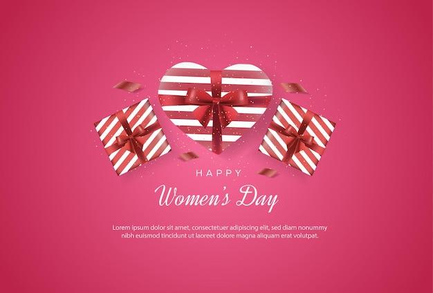 Feliz dia internacional da mulher com presentes que compõem o amor