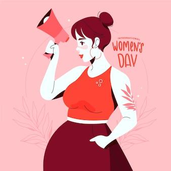 Feliz dia internacional da mulher desenhado à mão