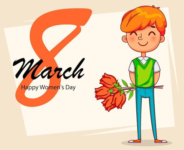 Feliz dia internacional da mulher. personagem de desenho animado de garoto engraçado segurando um buquê de tulipas