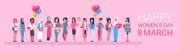Feliz dia internacional das mulheres. grupo de meninas diversas