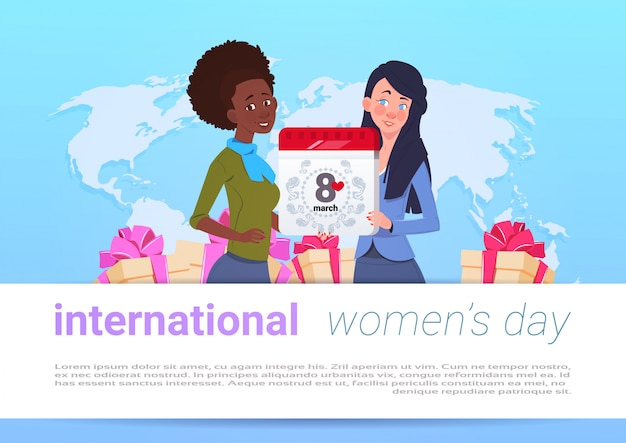 Feliz dia internacional das mulheres modelo banner com diversas meninas ao longo do mundo mapa segurando 8 de março calendário página