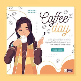 Feliz dia internacional do café ilustração fundo
