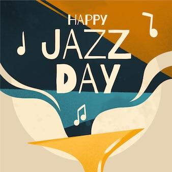 Feliz dia internacional do jazz com notas musicais