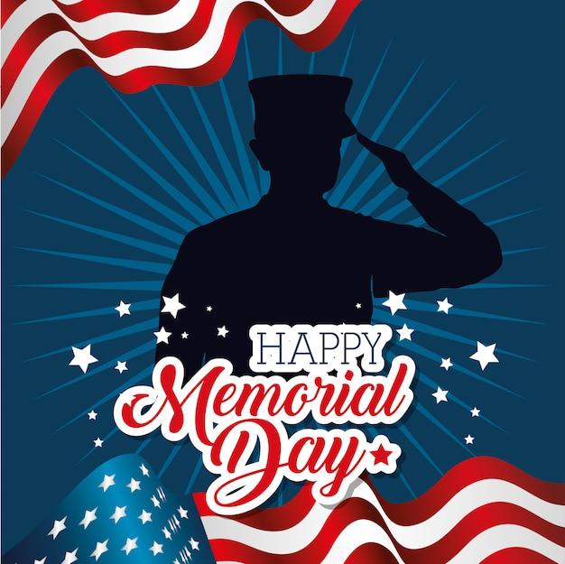 Feliz dia memorial cartão com soldado silhuette