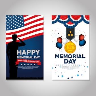 Feliz dia memorial celebração conjunto folhetos