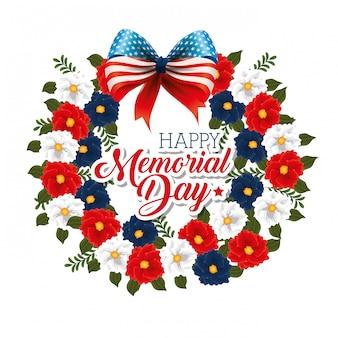 Feliz dia memorial com belas flores e sinalizadores de eua