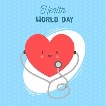 Feliz dia mundial da saúde com coração ouvindo estetoscópio