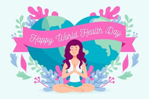 Feliz dia mundial da saúde com mulher fazendo yoga