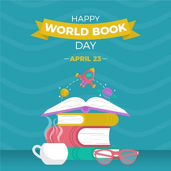Feliz dia mundial do livro com livros empilhados e óculos de leitura