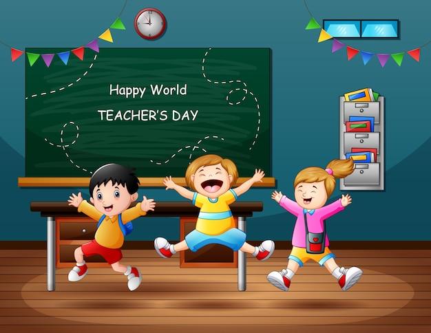 Feliz dia mundial do professor com um aluno feliz pulando