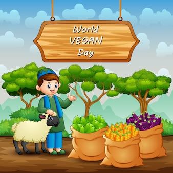 Feliz dia mundial vegano com legumes e fazendeiro