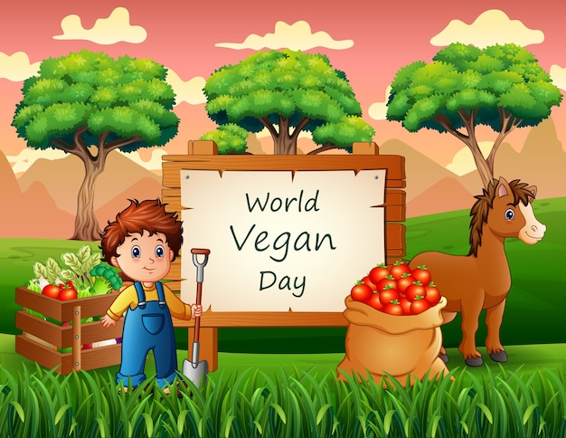 Feliz dia mundial vegano com produtos agrícolas e fazendeiros