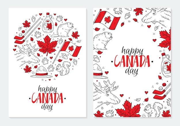 Feliz dia nacional do canadá, um conjunto de cartões postais ou pôsteres com os símbolos vermelhos tradicionais