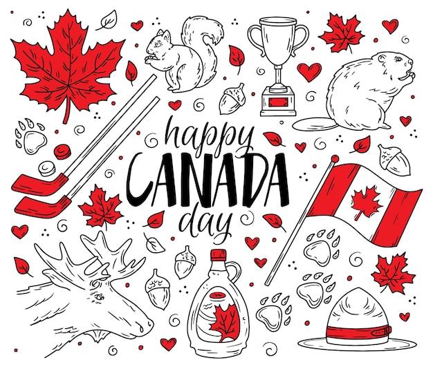 Feliz dia nacional do canadá, um conjunto de símbolos e ícones tradicionais no estilo de desenho doodle
