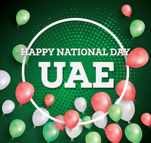Feliz dia nacional dos emirados árabes unidos. cartão de felicitações