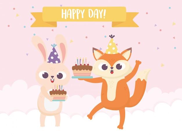 Feliz dia, pequeno coelho raposa com ilustração de bolos e balões