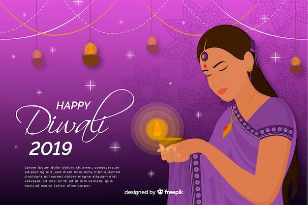 Feliz diwali 2019 fundo com mulher