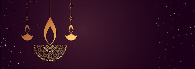Feliz diwali banner com design decorativo diya