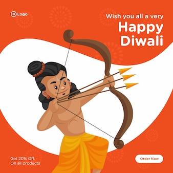 Feliz diwali banner design com ilustração dos desenhos animados do deus indiano rama com arco e flechas
