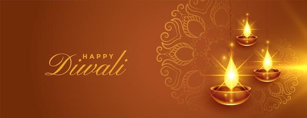 Feliz diwali brilhante diya lindo banner