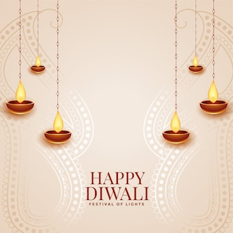 Feliz diwali cartão elegante festival com design diya