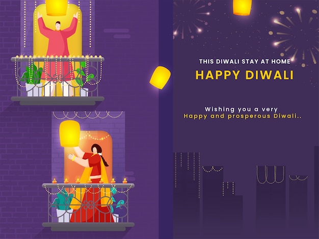 Feliz diwali celebração fundo urbano com cartoon homem e mulher segurando lanternas do céu em sua varanda. fique em casa, evite o coronavirus.