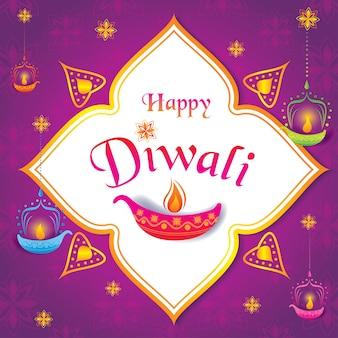 Feliz diwali com lanterna e padrão.