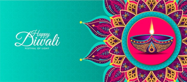 Feliz diwali com mandala colorida