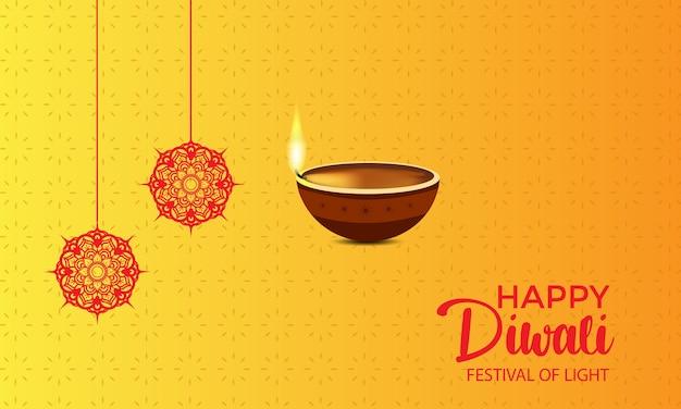 Feliz diwali com uma vela diya