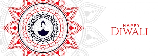 Feliz diwali decorativo diya festival banner