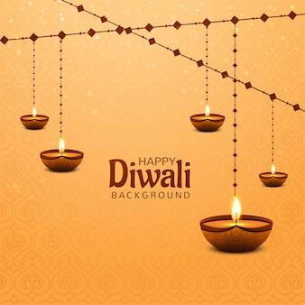Feliz diwali decorativo pendurado fundo diya