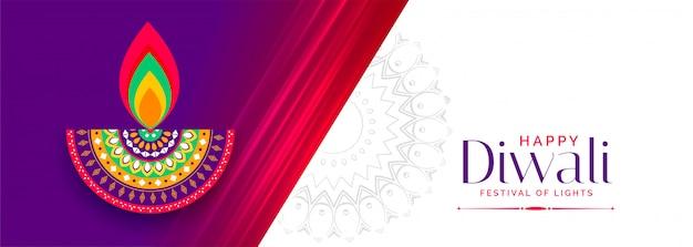 Feliz diwali deseja banner festival vibrante