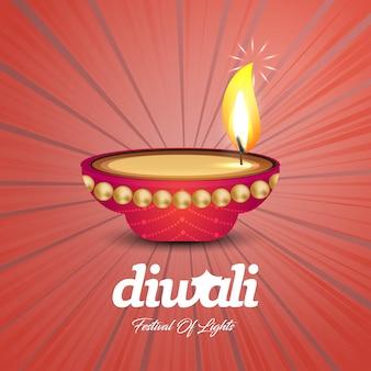 Feliz diwali design criativo com fundo vermelho e tipografia