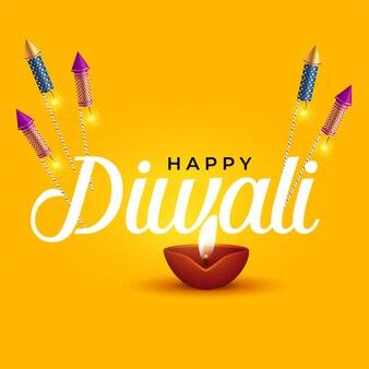 Feliz diwali design elegante com diya e cracker