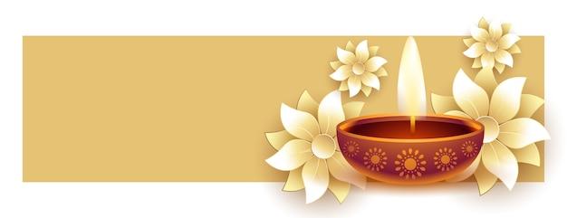 Feliz diwali diya e flor com copyspace