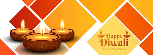 Feliz diwali diya óleo lâmpada festival cabeçalho design