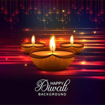 Feliz diwali diya óleo lâmpada festival fundo brilhante