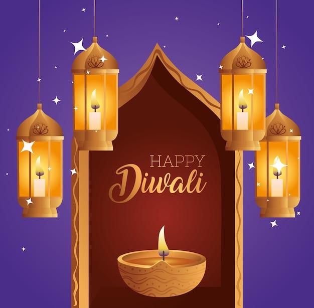 Feliz diwali diya vela em design de janela e lanternas, tema festival de luzes
