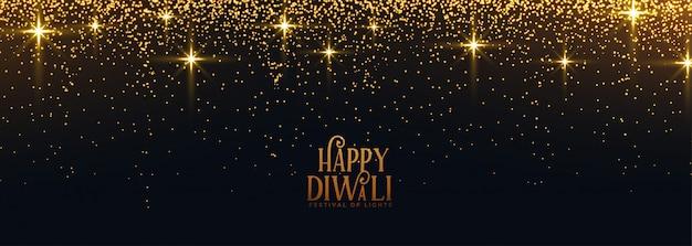 Feliz diwali dourado brilha e banner de brilho