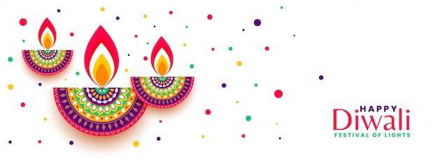 Feliz diwali festival celebração banner colorido