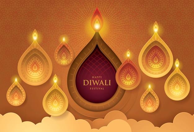 Feliz diwali festival com lâmpada de óleo, arte de papel