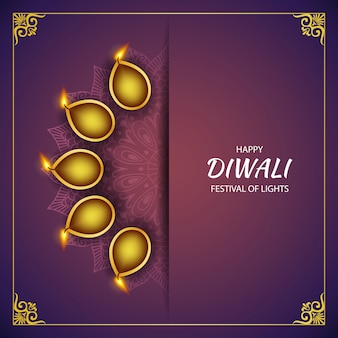 Feliz diwali festival de luz com lâmpadas diya e rangoli